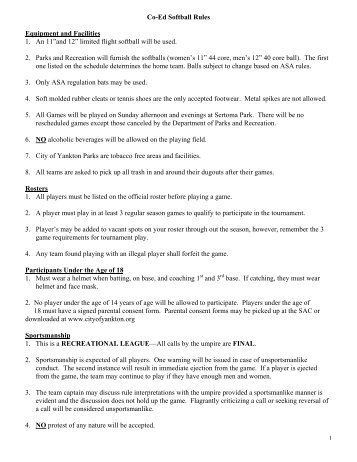 Co-Ed Softball Rules Equipment and Facilities 1 ... - City of Yankton