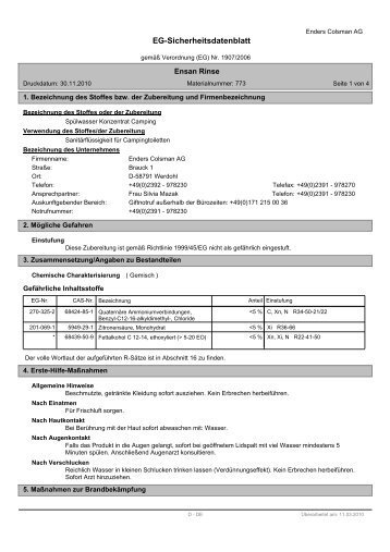 Sicherheitsdatenbl. Ensan Rinse - myBBQStore24.de