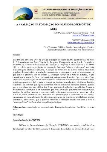"""A AVALIAÇÃO NA FORMAÇÃO DO """"ALUNO PROFESSOR"""" DE ARTE"""