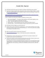 Provider FAQ – King Care - Regence BlueShield