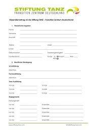 Antragsformular für Stipendien Stiftung TANZ