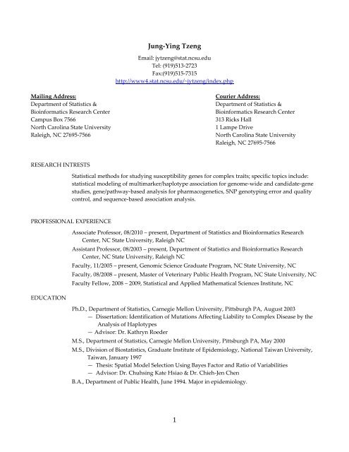 Jung-Ying Tzeng - NCSU Statistics - North Carolina State