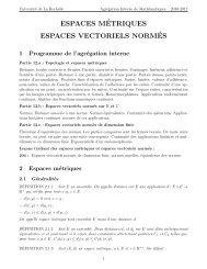espaces m´etriques espaces vectoriels norm´es - Université de La ...