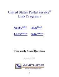 United States Postal Service Link Programs - Anchor Software