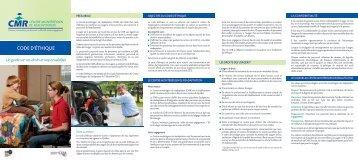 Dépliant Code d'éthique - Centre montérégien de réadaptation