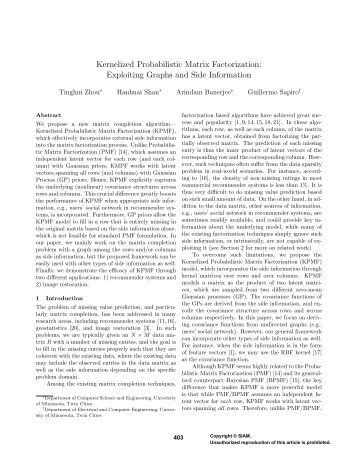 Kernelized Probabilistic Matrix Factorization: Exploiting Graphs and ...