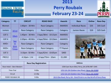 2013 Perry Roubaix February 23-24 - Spincycle Sports Marketing