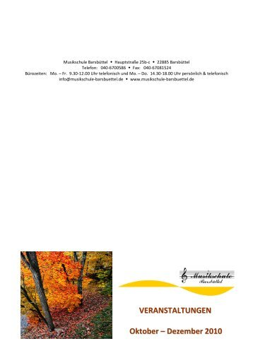 VERANSTALTUNGEN Oktober - Musikschule Barsbüttel