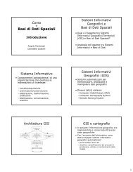 Basi di Dati Spaziali - Dipartimento di Matematica e Informatica