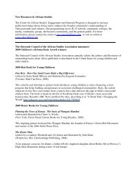 New Resources in African Studies 2009 - Center for African Studies