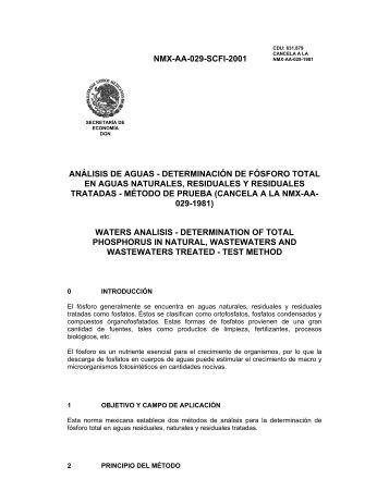 NMX-AA-029-SCFI-2001 ANÁLISIS DE AGUAS ... - CONAGUA