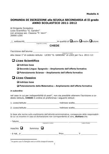 Modulo iscrizione Liceo Gandini Lodi - Centro Servizi Amministrativi ...