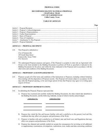 Fuel Bid Specifications Vendor Proposal Form - City of La Feria