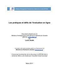 Les pratiques et défis de l'évaluation en ligne - Base de données en ...