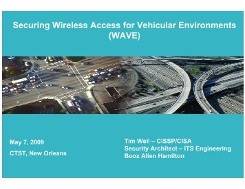 Securing Wireless Access for Vehicular Environments (WAVE)