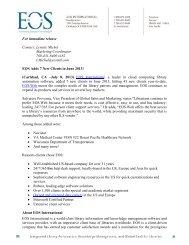 For immediate release Contact: Lynette Michel ... - EOS International
