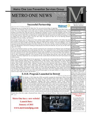 METRO ONE NEWS - Metro One Loss Prevention Services Group