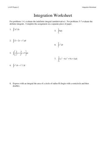 Calculus worksheet on integration with data