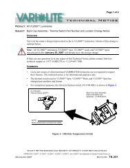 Thermal Switch Part Number and Location Change Notice - Vari-Lite