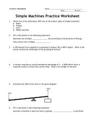 Simple Machines Practice Worksheet - Arapahoe High School