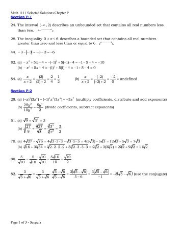 Math 1111 Selected Solutions Chapter P Page 1 of 3 - Seppala ...