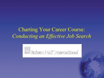 Charting Your Career Course: Conducting an Effective Job Search