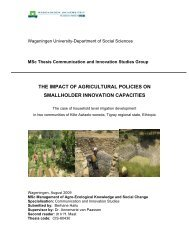 the impact of agricultural policies on - IPMS Information Resources ...