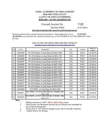 sail bsl bokaro idle asset auction fa 1125 - Login - Metaljunction