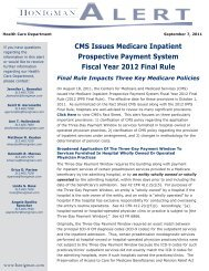 CMS Issues Medicare Inpatient Prospective Payment ... - Honigman