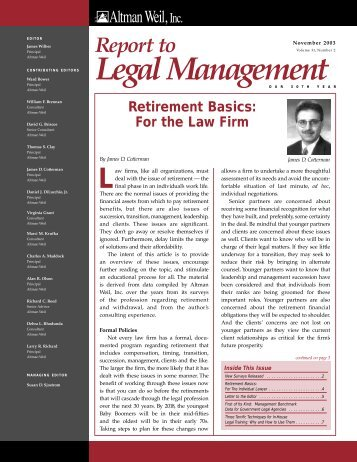 Retirement Basics: For the Law Firm - Altman Weil
