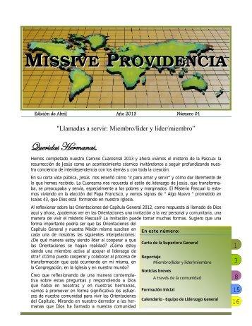 Missive Providencia - Abril 2013 - Les Soeurs de la Providence