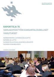 Vapaaehtoistyön kansantaloudelliset vaikutukset - Helsinki.fi