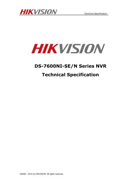 DS-7600NI-SE/N Series NVR Technical Specification - Lobeco