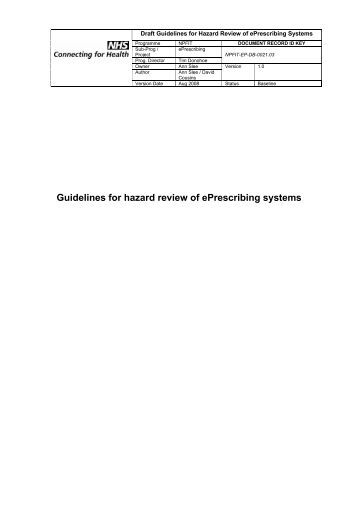 Guidelines for Hazard Review of ePrescribing Systems - NHS ...