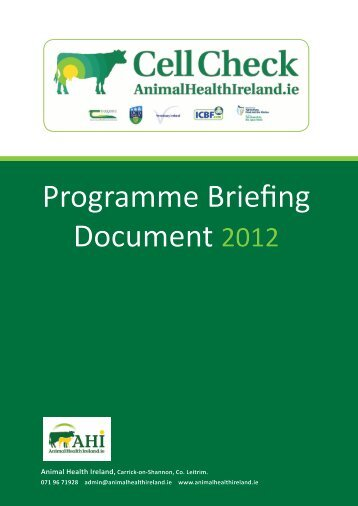 Programme Briefing Document 2012 - Animal Health Ireland