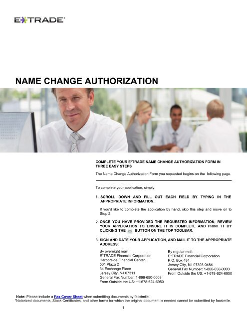 NAME CHANGE AUTHORIZATION - E*Trade