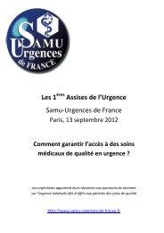 SAMU - Urgences de France : les 1ère assises de l'urgence