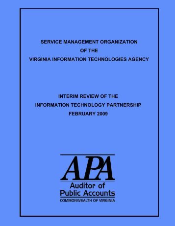 Service Management Organization of the Virginia Information ...