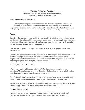 reflection on learning example