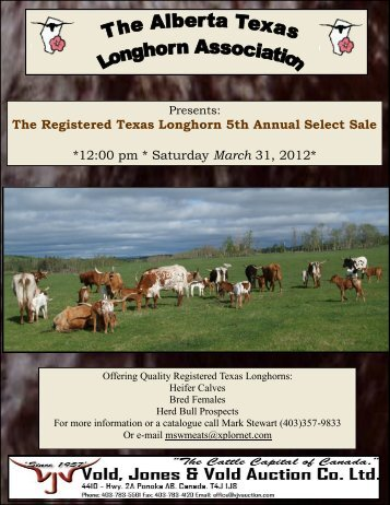 The Registered Texas Longhorn 5th Annual Select Sale *12:00 pm ...