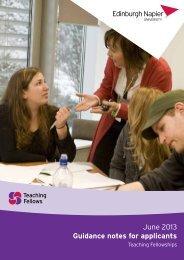 Teaching Fellowships: guidance notes for applicants - Edinburgh ...