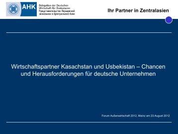 Ihr Partner in Zentralasien - Forum Außenwirtschaft