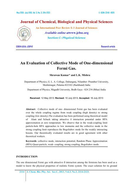 An Evaluation of Collective Mode of One-dimensional Fermi Gas