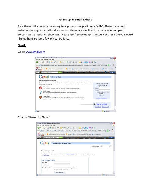 Setting up an email address: An active email account is