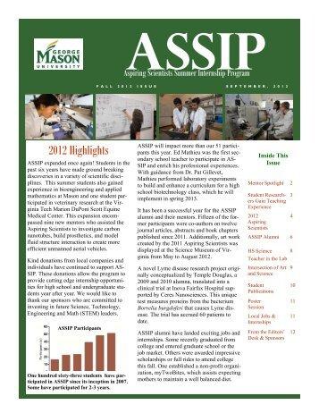 2012 ASSIP Newsletter - Aspiring Scientists Summer Internship ...