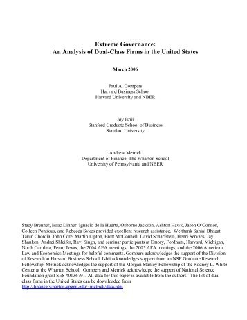 An Analysis of Dual-Class Firms in the United States