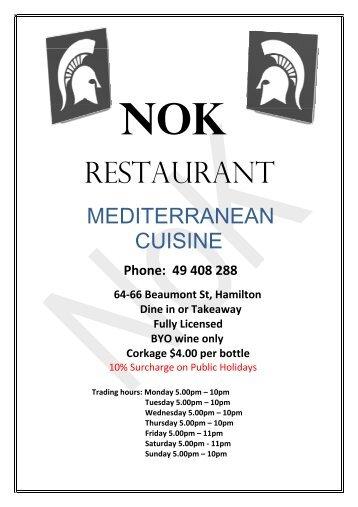 Menu - NoK Restaurant