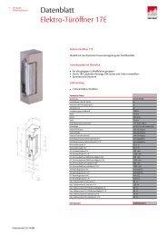 Datenblatt Elektro-Türöffner 17E
