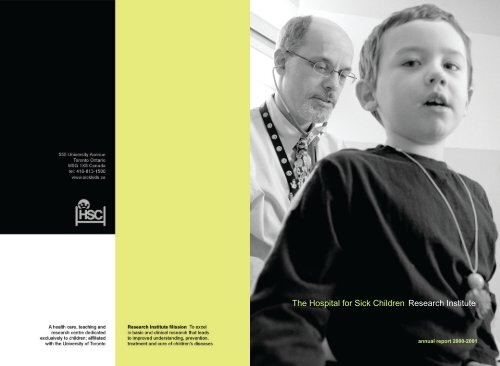 Research Institute Annual Report 2000-2001 - The Hospital for Sick ...