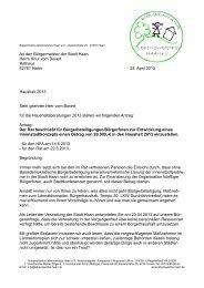 An den Bürgermeister der Stadt Haan Herrn Knut vom Bovert ...